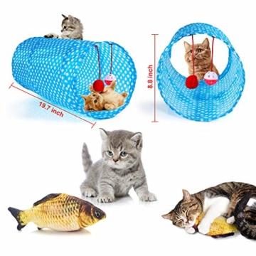 AILUKI 31 Stück Katzenspielzeug Set mit Katzentunnel Jingle Bell Katzen Spielzeug Variety Pack für Kitty - 4