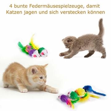 AILUKI 31 Stück Katzenspielzeug Set mit Katzentunnel Jingle Bell Katzen Spielzeug Variety Pack für Kitty - 5
