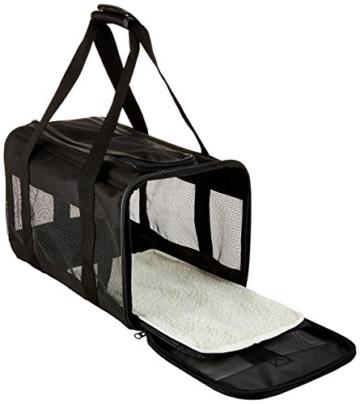 AmazonBasics Transporttasche für Haustiere, weiche Seitenteile, Schwarz, Größe M - 2