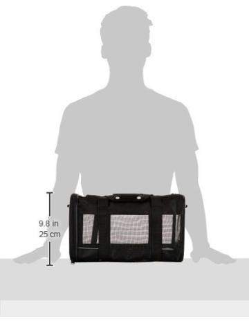 AmazonBasics Transporttasche für Haustiere, weiche Seitenteile, Schwarz, Größe M - 11