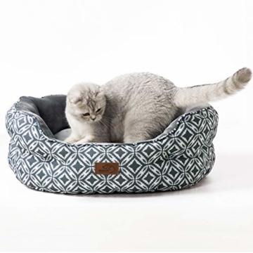 Bedsure Katzenbett Katzen Bettchen Gross - Katzen Bett mit Zweiseitig Innenkissen Waschbar Katzenschlafplatz Grau L64cm X B53cm X H23cm für Katzen/Kleine Hunde - 1