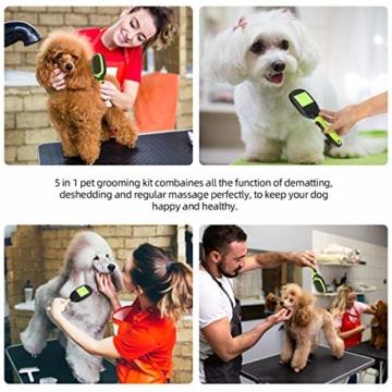 Bestcool Unterwollbürste Hunde Katze, 5 in 1 Hundesalonbürste Kit Flexibler Borsten & Pin Hundebürste & Katzenbürste | Entfilzen & Glätten | Hundekamm für Langhaarige Haustiere - 2