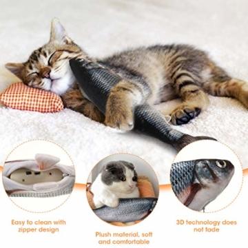 Charminer Elektrisch Spielzeug Fisch, Katze Interaktive Spielzeug USB Elektrische Plüsch Fisch Kicker Katzenspielzeug mit Katzenminze Kauen Spielzeug für Katze zu Spielen, Beißen, Kauen und Treten - 3