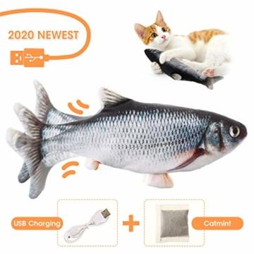 Charminer Elektrisch Spielzeug Fisch, Katze Interaktive Spielzeug USB Elektrische Plüsch Fisch Kicker Katzenspielzeug mit Katzenminze Kauen Spielzeug für Katze zu Spielen, Beißen, Kauen und Treten - 1
