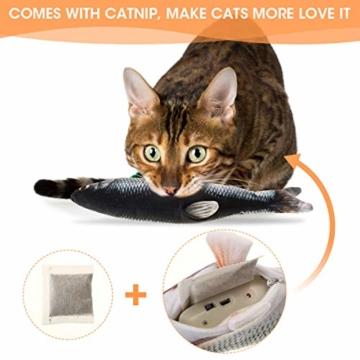 Charminer Elektrisch Spielzeug Fisch, Katze Interaktive Spielzeug USB Elektrische Plüsch Fisch Kicker Katzenspielzeug mit Katzenminze Kauen Spielzeug für Katze zu Spielen, Beißen, Kauen und Treten - 6