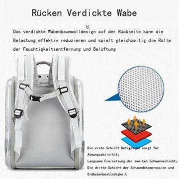 CKAN Pet Carrier Rucksack, Space Capsule Transparent Tragbarer Katzenrucksack Atmungsaktive Reise-Transporttasche für kleine, mittelgroße Hunde und Katzen - 3