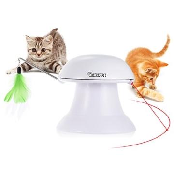 DADYPET Katzen Federspielzeug, Katzenspielzeug Elektrisch Katzenspielzeug Federstab Intelligenzspielzeug Katzenspiel Drehen Feder Spielzeug 360° Drehung mit Gefieder (Weiß) - 1