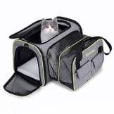DADYPET Transporttasche Katze und Kleine Hunde, Katzentransportbox Katzen Transporttasche & Hundebox für den Transport von Hund & Katze im Auto oder in der Bahn 44.5 * 33 * 28cm (Grau) - 1