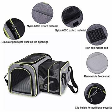 DADYPET Transporttasche Katze und Kleine Hunde, Katzentransportbox Katzen Transporttasche & Hundebox für den Transport von Hund & Katze im Auto oder in der Bahn 44.5 * 33 * 28cm (Grau) - 3