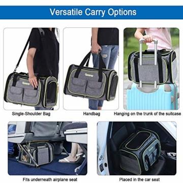 DADYPET Transporttasche Katze und Kleine Hunde, Katzentransportbox Katzen Transporttasche & Hundebox für den Transport von Hund & Katze im Auto oder in der Bahn 44.5 * 33 * 28cm (Grau) - 4