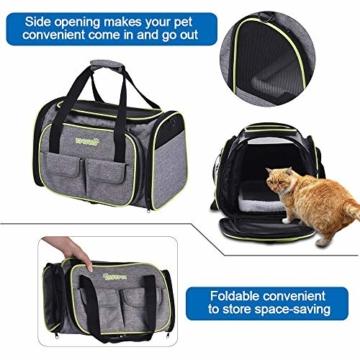 DADYPET Transporttasche Katze und Kleine Hunde, Katzentransportbox Katzen Transporttasche & Hundebox für den Transport von Hund & Katze im Auto oder in der Bahn 44.5 * 33 * 28cm (Grau) - 6