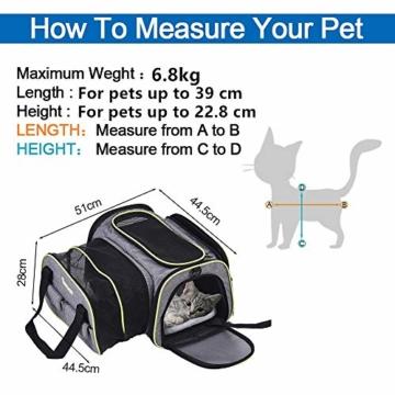 DADYPET Transporttasche Katze und Kleine Hunde, Katzentransportbox Katzen Transporttasche & Hundebox für den Transport von Hund & Katze im Auto oder in der Bahn 44.5 * 33 * 28cm (Grau) - 7