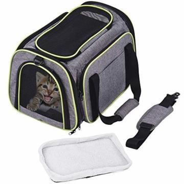 DADYPET Transporttasche Katze und Kleine Hunde, Katzentransportbox Katzen Transporttasche & Hundebox für den Transport von Hund & Katze im Auto oder in der Bahn 44.5 * 33 * 28cm (Grau) - 9