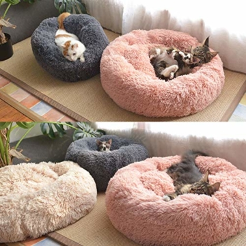 Decdeal Haustierbett für Katzen und Hunde Rundes Plüsch Hundebett Katzenbett in Doughnut-Form Farbe und Größe Optional - 2