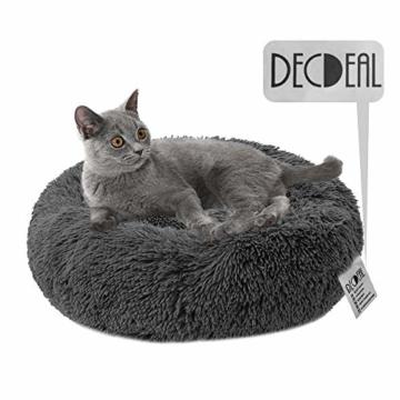 Decdeal Haustierbett für Katzen und Hunde Rundes Plüsch Hundebett Katzenbett in Doughnut-Form Farbe und Größe Optional - 3