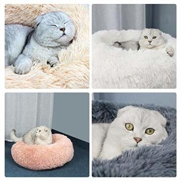 Decdeal Haustierbett für Katzen und Hunde Rundes Plüsch Hundebett Katzenbett in Doughnut-Form Farbe und Größe Optional - 4