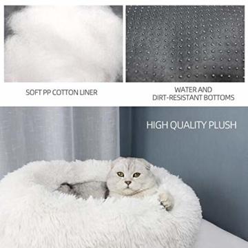 Decdeal Haustierbett für Katzen und Hunde Rundes Plüsch Hundebett Katzenbett in Doughnut-Form Farbe und Größe Optional - 5