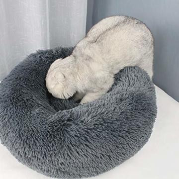 Decdeal Haustierbett für Katzen und Hunde Rundes Plüsch Hundebett Katzenbett in Doughnut-Form Farbe und Größe Optional - 6