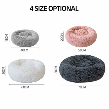 Decdeal Haustierbett für Katzen und Hunde Rundes Plüsch Hundebett Katzenbett in Doughnut-Form Farbe und Größe Optional - 7