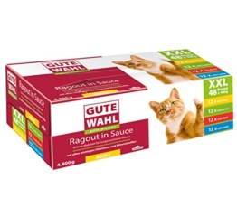 Dehner Gute Wahl Katzenfutter Adult, Multipack XXL, je 12 x Huhn, Lamm, Rind & Lachs, im Beutel, 48 x 100 g (4.8 kg) - 1