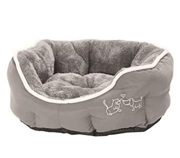 Dehner Hunde- und Katzenbett Sammy, oval, ca. 45 x 40 x 14 cm, Polyester, grau - 1