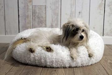 E-dogbed Exklusives weiches und kuscheliges Hundebett Fuzzy Ø 70 cm, Weiß Haustierbett Katzensofa Katzenbett Doughnut-Form Hundeliege Katzenliege Katzenkissen Hundekorb Hundeliege Hundekissen - 2