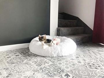 E-dogbed Exklusives weiches und kuscheliges Hundebett Fuzzy Ø 70 cm, Weiß Haustierbett Katzensofa Katzenbett Doughnut-Form Hundeliege Katzenliege Katzenkissen Hundekorb Hundeliege Hundekissen - 3
