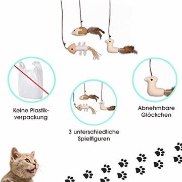 ecoworks Premium Katzenspielzeug |natürliche robuste Spielangel mit Maus | Stofftier 3er Set zur Katzenbeschäftigung | Kratzspielzeug | Geschenkbox | interaktives Zubehör | natürlichen Fasern & Federn - 2