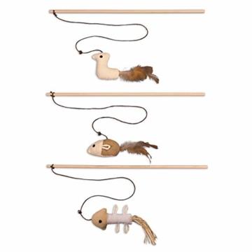 ecoworks Premium Katzenspielzeug |natürliche robuste Spielangel mit Maus | Stofftier 3er Set zur Katzenbeschäftigung | Kratzspielzeug | Geschenkbox | interaktives Zubehör | natürlichen Fasern & Federn - 1