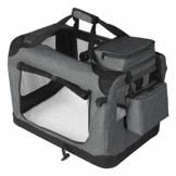 EUGAD 0329GL Hundebox faltbar Hundetransportbox Auto Transportbox Reisebox Katzenbox Grau 91,4 x 63,5 x 63,5 cm - 1