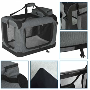 EUGAD 0329GL Hundebox faltbar Hundetransportbox Auto Transportbox Reisebox Katzenbox Grau 91,4 x 63,5 x 63,5 cm - 4