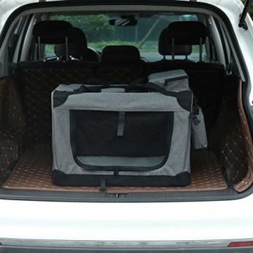 EUGAD 0329GL Hundebox faltbar Hundetransportbox Auto Transportbox Reisebox Katzenbox Grau 91,4 x 63,5 x 63,5 cm - 6