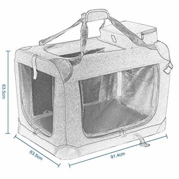 EUGAD 0329GL Hundebox faltbar Hundetransportbox Auto Transportbox Reisebox Katzenbox Grau 91,4 x 63,5 x 63,5 cm - 7