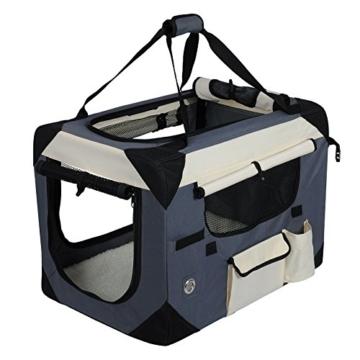 EUGAD Hundebox Faltbar Hundetransportbox Auto Transportbox Reisebox Katzenbox Box mit Hundedecke Oxford Grau 0141HT - 3