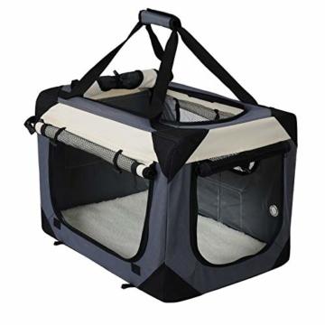 EUGAD Hundebox Faltbar Hundetransportbox Auto Transportbox Reisebox Katzenbox Box mit Hundedecke Oxford Grau 0141HT - 1