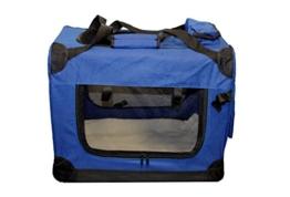 Faltbare Hundebox Hundetransportbox Hunde Katzen Katzentransportbox Katzenbox (M, Blau) - 1