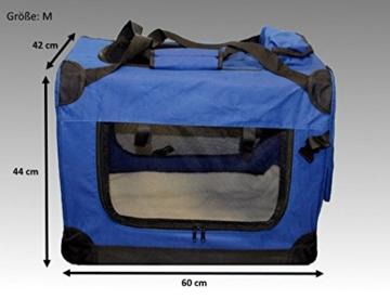 Faltbare Hundebox Hundetransportbox Hunde Katzen Katzentransportbox Katzenbox (M, Blau) - 4