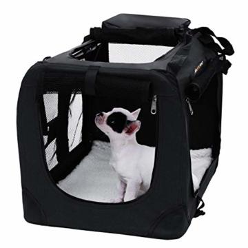 FEANDREA Hundebox Transportbox Auto Hundetransportbox faltbar Katzenbox Oxford Gewebe schwarz M 60 x 40 x 40 cm PDC60H - 2