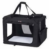 FEANDREA Hundebox Transportbox Auto Hundetransportbox faltbar Katzenbox Oxford Gewebe schwarz M 60 x 40 x 40 cm PDC60H - 1