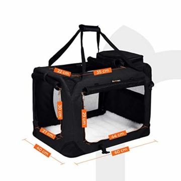 FEANDREA Hundebox Transportbox Auto Hundetransportbox faltbar Katzenbox Oxford Gewebe schwarz M 60 x 40 x 40 cm PDC60H - 3