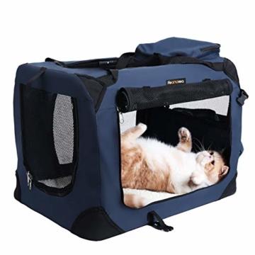 FEANDREA Hundebox, Transportbox für Auto, Hundetransportbox, Faltbare Katzenbox aus Oxford-Gewebe, S, 50 x 35 x 35 cm, dunkelblau PDC50Z - 2
