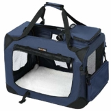 FEANDREA Hundebox, Transportbox für Auto, Hundetransportbox, Faltbare Katzenbox aus Oxford-Gewebe, S, 50 x 35 x 35 cm, dunkelblau PDC50Z - 1