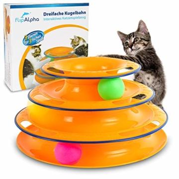 flipAlpha Katzenspielzeug - Dreifache Kugelbahn zur Beschäftigung für die Katze - interaktives Katzenspielzeug - 1