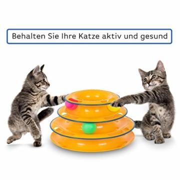 flipAlpha Katzenspielzeug - Dreifache Kugelbahn zur Beschäftigung für die Katze - interaktives Katzenspielzeug - 6