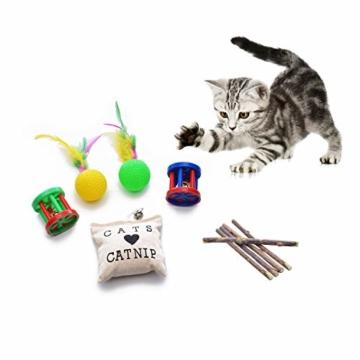 FYNIGO 30 Stück Katzenspielzeug Set mit Katzentunnel,Bälle,Federspielzeug,Plüschspielzeug,Spielzeugmäuse,Katzen Spielzeug Variety Pack für Kitty - 4