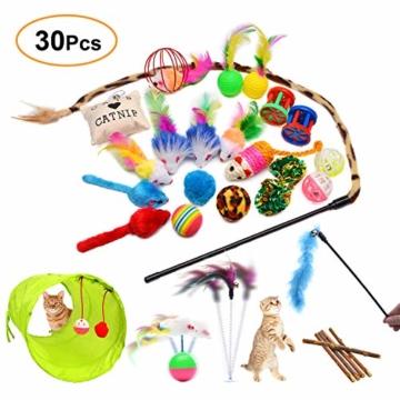 FYNIGO 30 Stück Katzenspielzeug Set mit Katzentunnel,Bälle,Federspielzeug,Plüschspielzeug,Spielzeugmäuse,Katzen Spielzeug Variety Pack für Kitty - 1