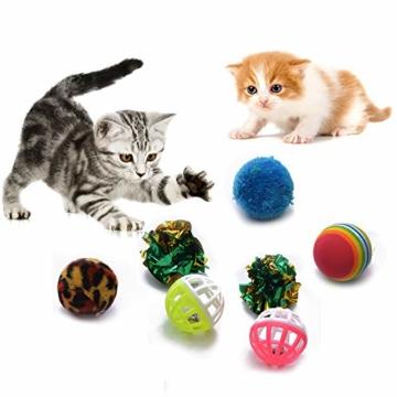 FYNIGO 30 Stück Katzenspielzeug Set mit Katzentunnel,Bälle,Federspielzeug,Plüschspielzeug,Spielzeugmäuse,Katzen Spielzeug Variety Pack für Kitty - 5