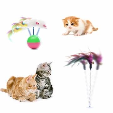 FYNIGO 30 Stück Katzenspielzeug Set mit Katzentunnel,Bälle,Federspielzeug,Plüschspielzeug,Spielzeugmäuse,Katzen Spielzeug Variety Pack für Kitty - 6
