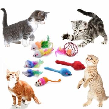 FYNIGO 30 Stück Katzenspielzeug Set mit Katzentunnel,Bälle,Federspielzeug,Plüschspielzeug,Spielzeugmäuse,Katzen Spielzeug Variety Pack für Kitty - 7