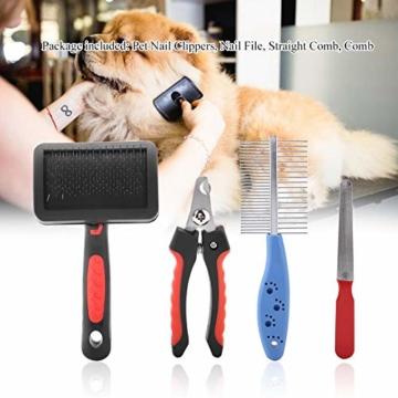 Hffheer Haustierpflege Trimmer Set Katzenpflegeset Katzen Nagelknipser mit Nagelfeile und sicherer runder Spitze Katzenpflegeschere mit Haustierkamm für Katze und Hund Universal - 4